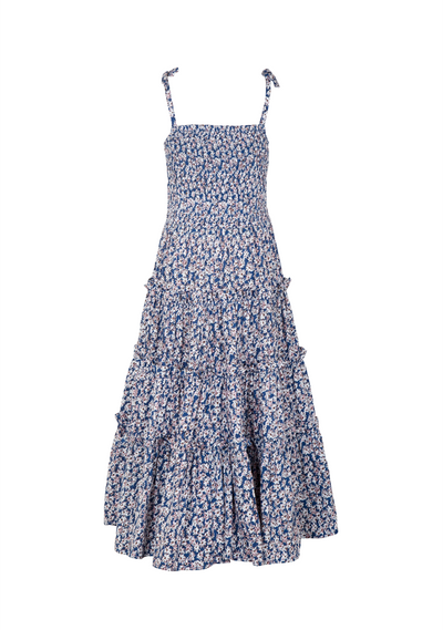 Sweet As Pie Shirred Maxi Dress Daisy Floral Navy