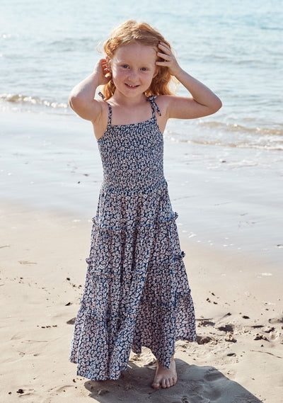 Sweet As Pie Shirred Maxi Dress Daisy Floral Navy - Auguste The Label