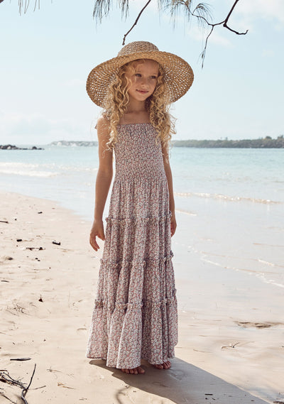 Sweet As Pie Shirred Maxi Dress Daisy Floral Blush - Auguste The Label