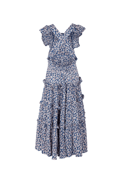 Pinafore Maxi Dress Daisy Floral Navy
