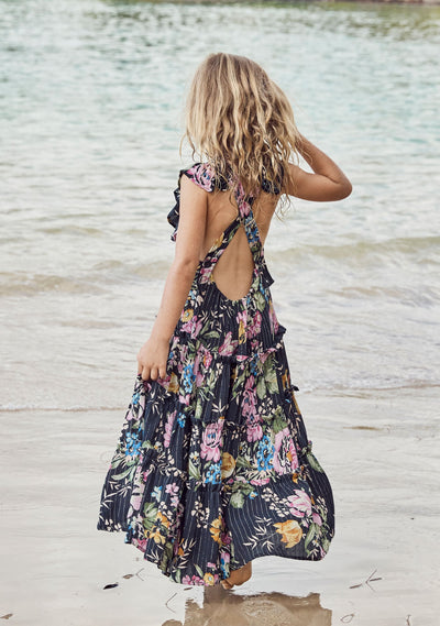 Pinafore Maxi Dress Delilah Floral Black - Auguste The Label