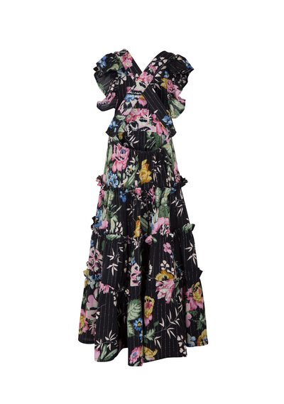 Pinafore Maxi Dress Delilah Floral Black