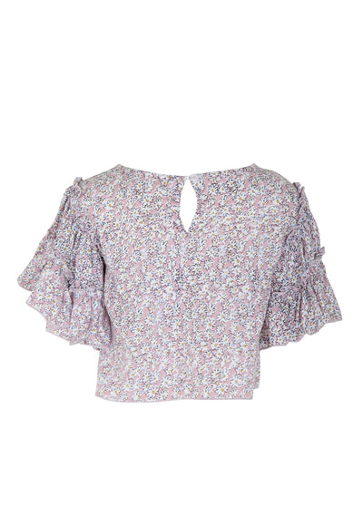 Frill Sleeved Crop Top Daisy Floral Blush