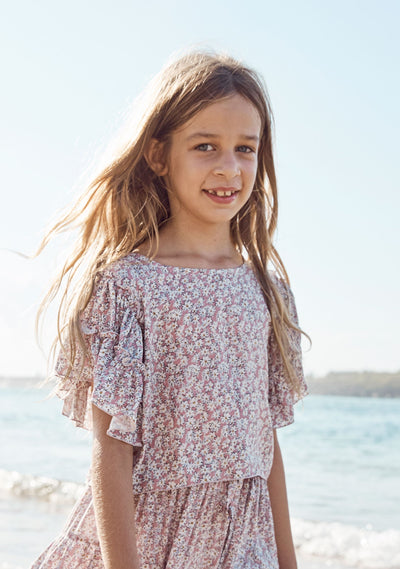 Frill Sleeved Crop Top Daisy Floral Blush - Auguste The Label