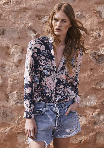 Stevie Shirt Francis Floral Navy Blue