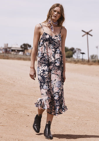 Alice Slip Dress Francis Floral Navy Blue
