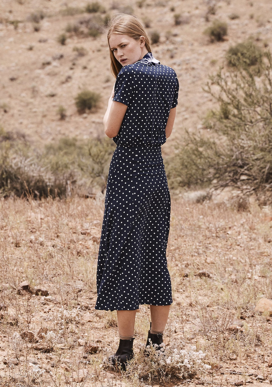 Lilly Lady Dress Classic Polka Dot Navy Blue