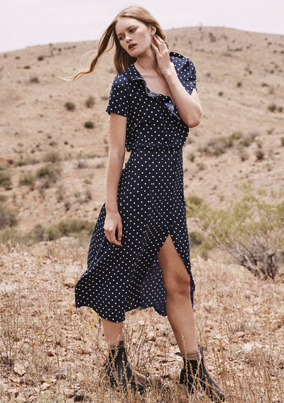 Lilly Lady Dress Classic Polka Dot Navy Blue - Auguste The Label