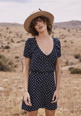 Lilly Day Dress Classic Polka Dot Navy Blue