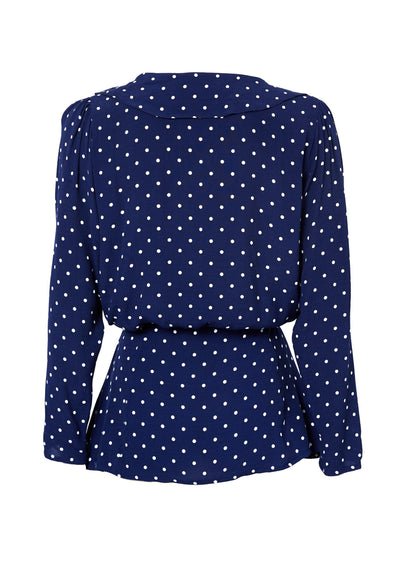 Lilly Shirt Classic Polka Dot Navy Blue - Auguste The Label