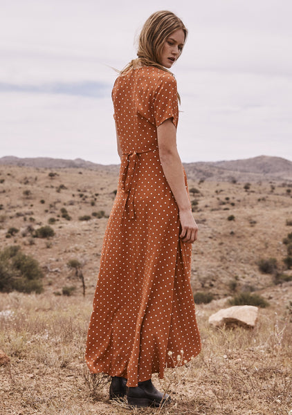 Lilly Wrap Maxi Dress Classic Polka Dot Rust