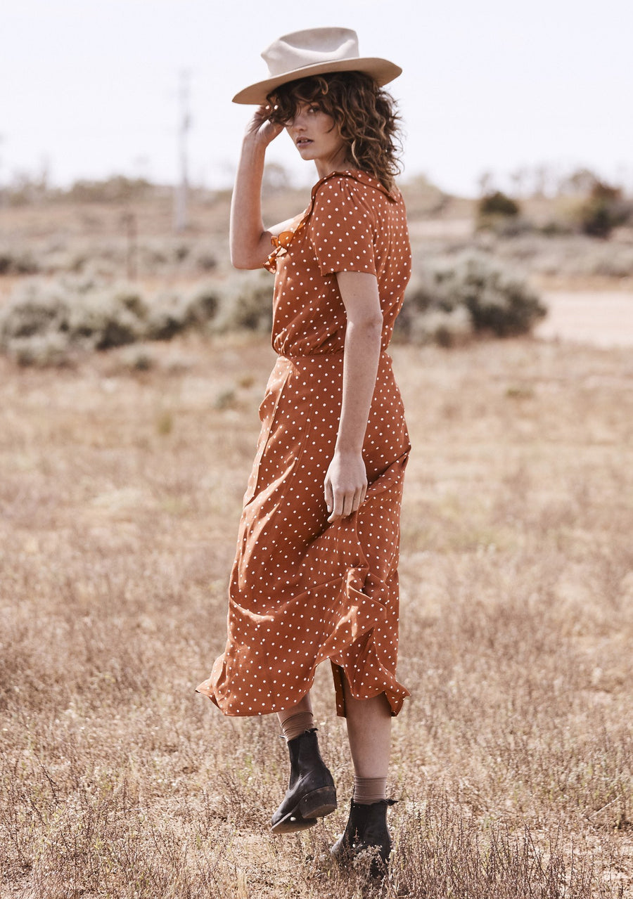 Lilly Lady Dress Classic Polka Dot Rust