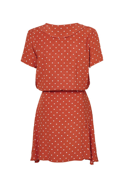 Lilly Day Dress Classic Polka Dot Rust - Auguste The Label