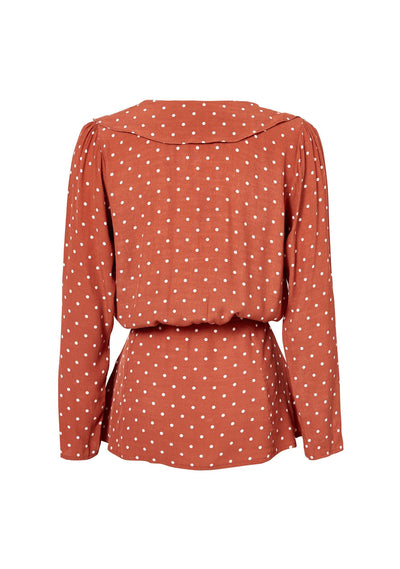 Lilly Shirt Classic Polka Dot Rust - Auguste The Label