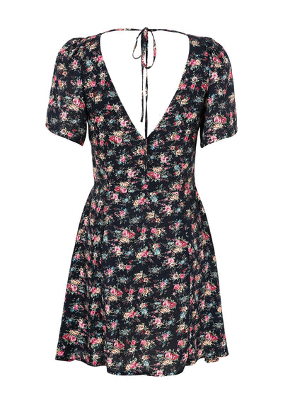 Roxy Play Dress 90s Ditsy Floral Black - Auguste The Label