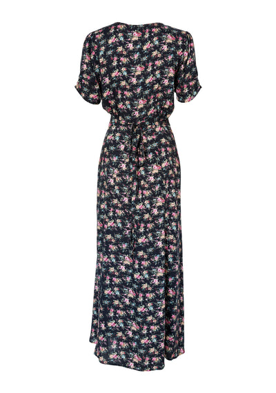 Little Lady Wrap Dress 90s Ditsy Floral Black - Auguste The Label