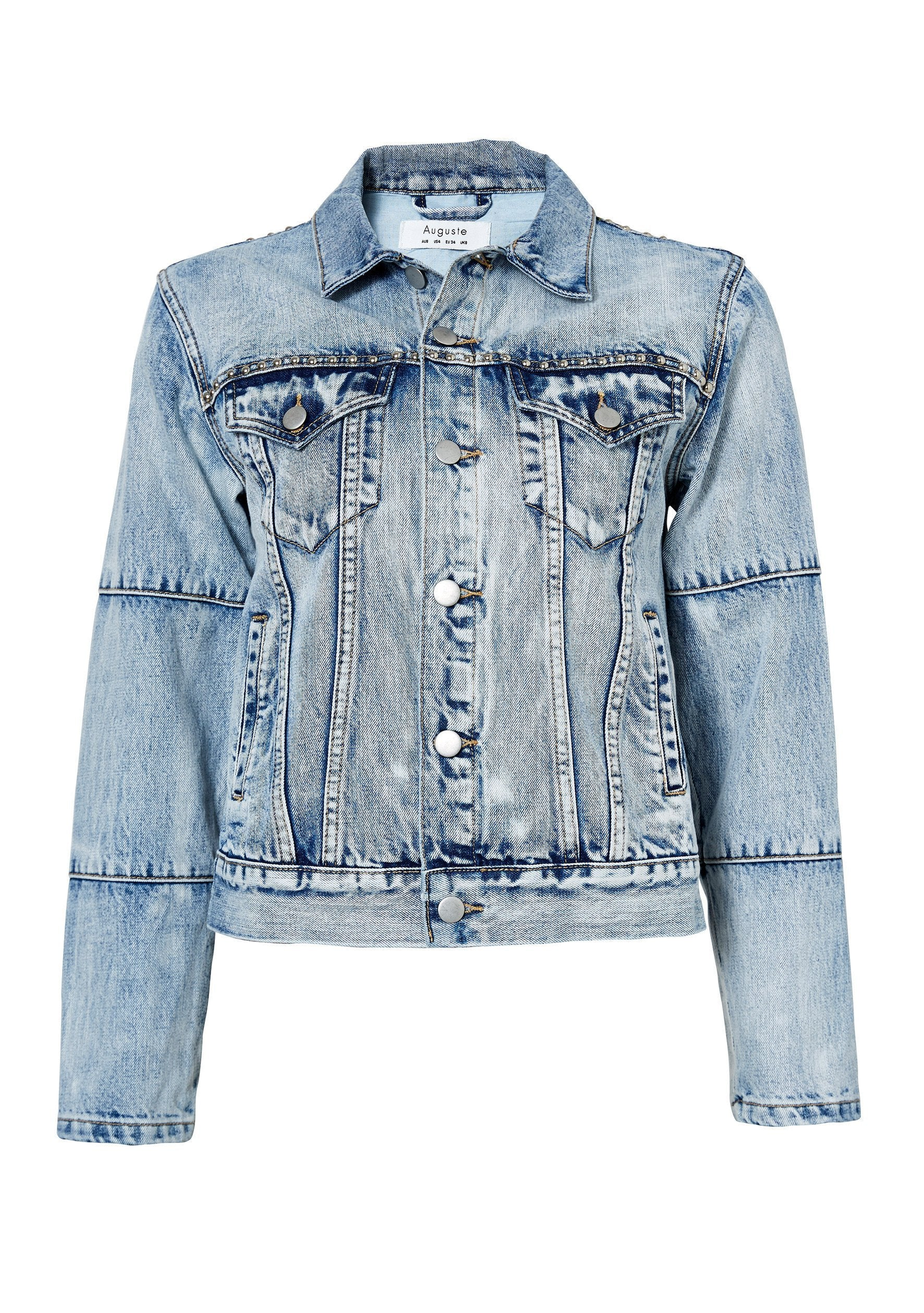 Ruby Floral Denim Jacket Blue Washed Denim
