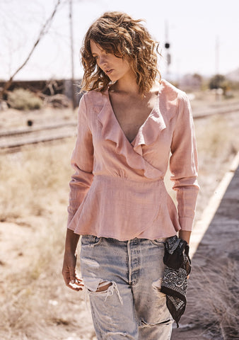 Harvey Wrap Top Blush