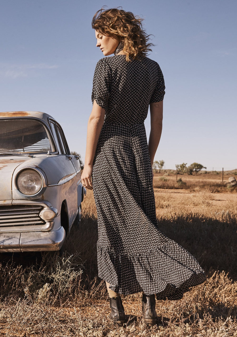 Delilah Maxi Dress Penelope Polka Black