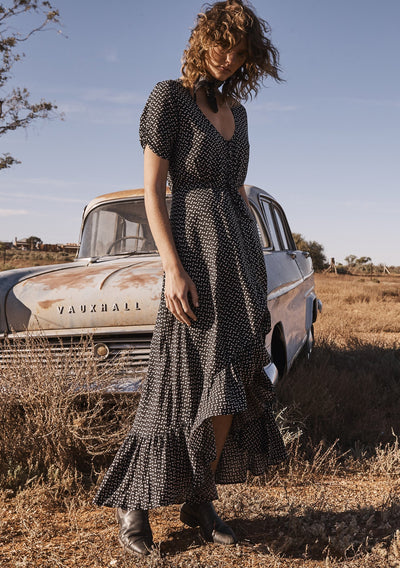 Delilah Maxi Dress Penelope Polka Black - Auguste The Label