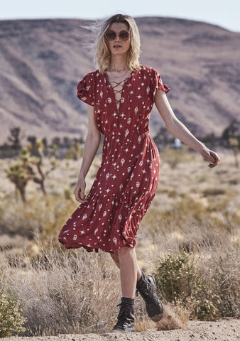 Gypsy Girl Day Dress Desert Sky Red Musk