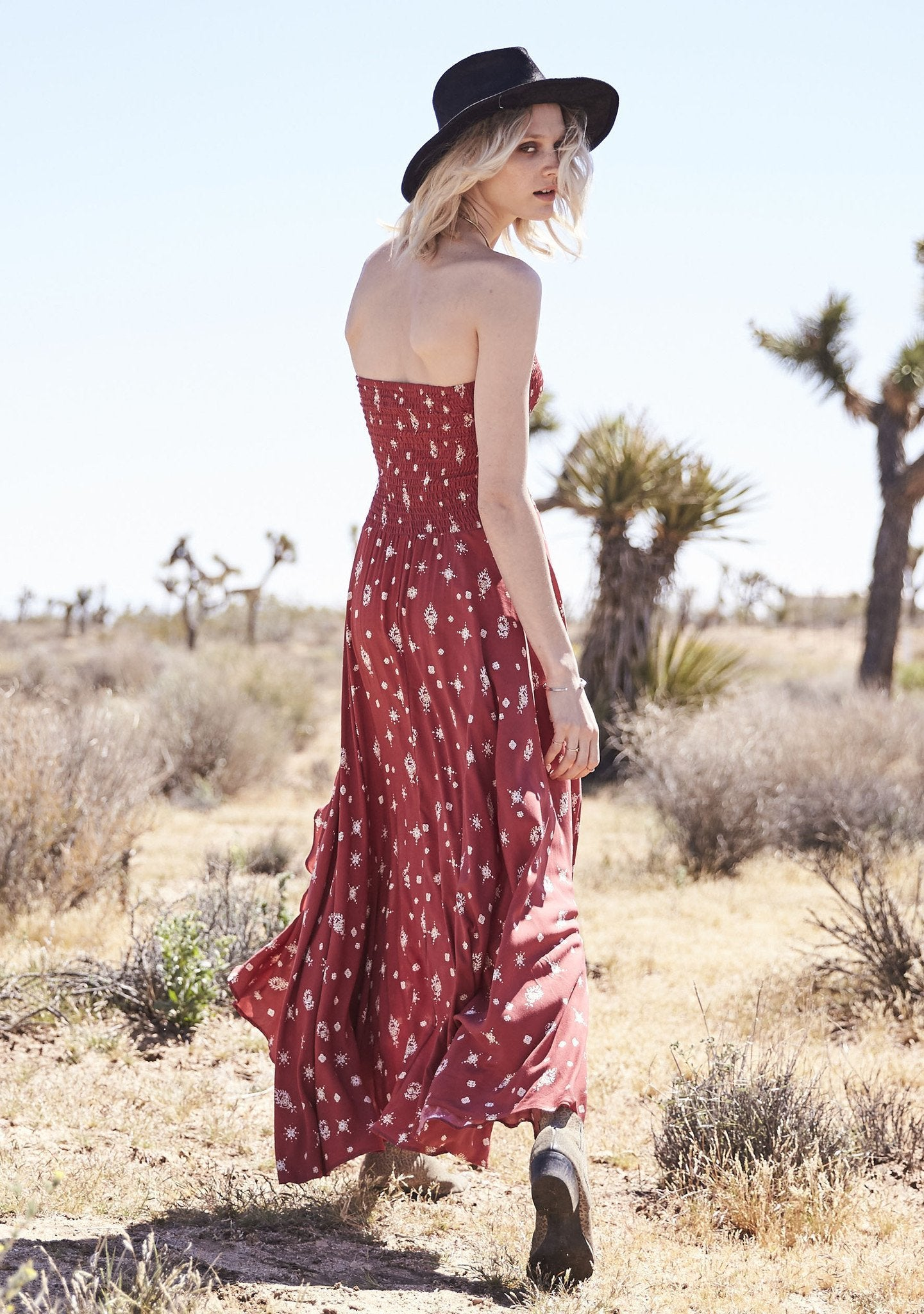 Gypsy Girl Shirred Tube Dress Desert Sky Red Musk