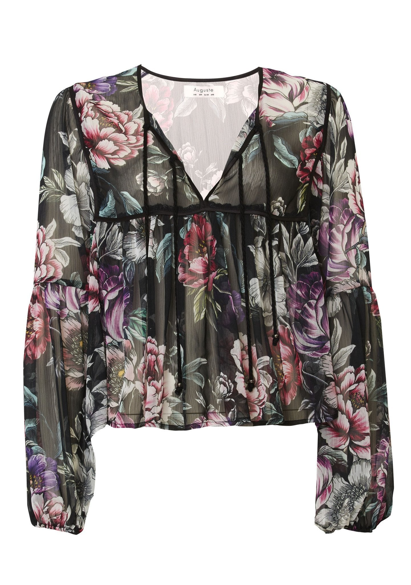 Boho Is Best Sheer Top Hazel Blossom Black