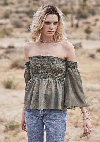 Plain And Simple Rouched Top Khaki