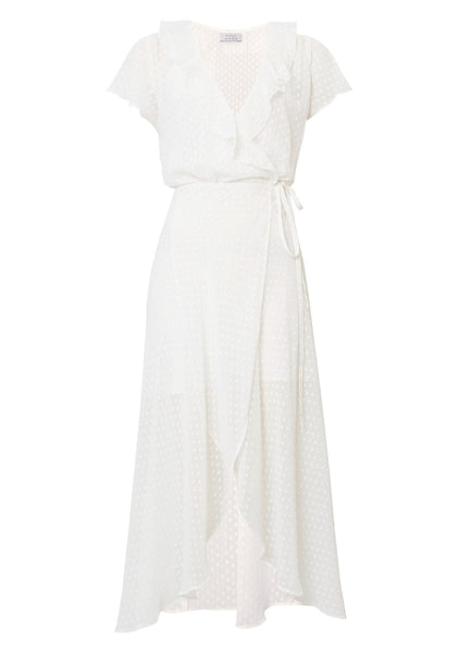 She Might Be Sweet Wrap Maxi Dress Off White