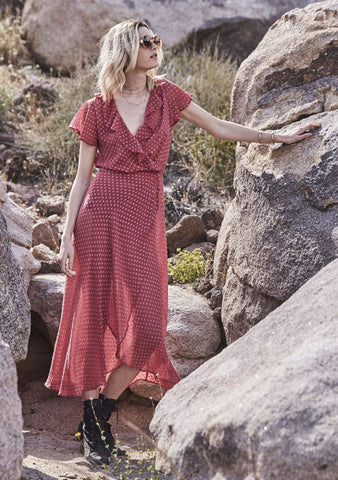 She Might Be Sweet Wrap Maxi Dress Dark Red Musk