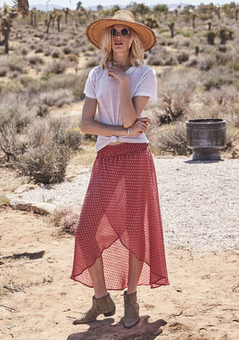 She Might Be Sweet Boho Skirt Dark Red Musk