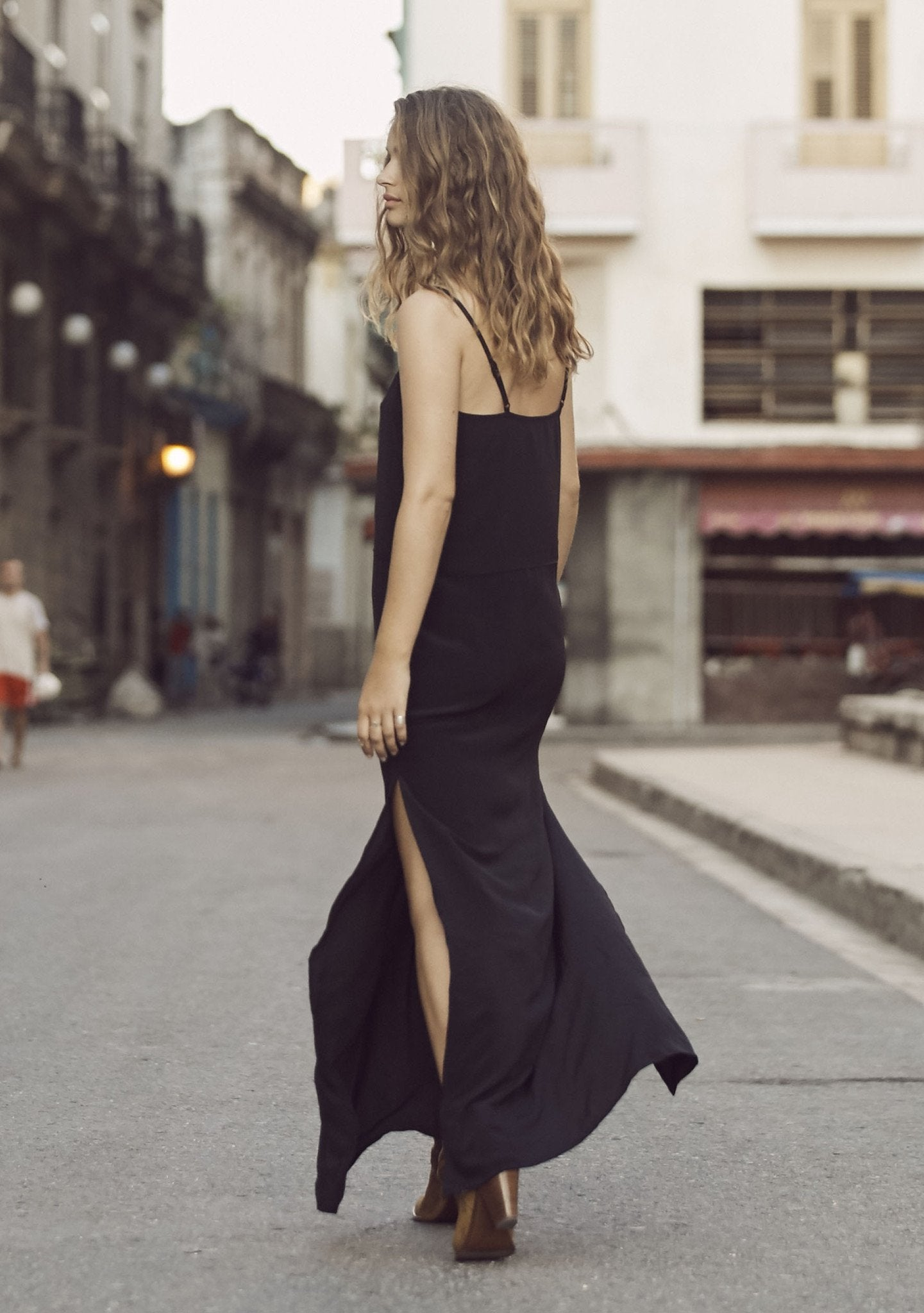 Lily Silk Slip Dress Black
