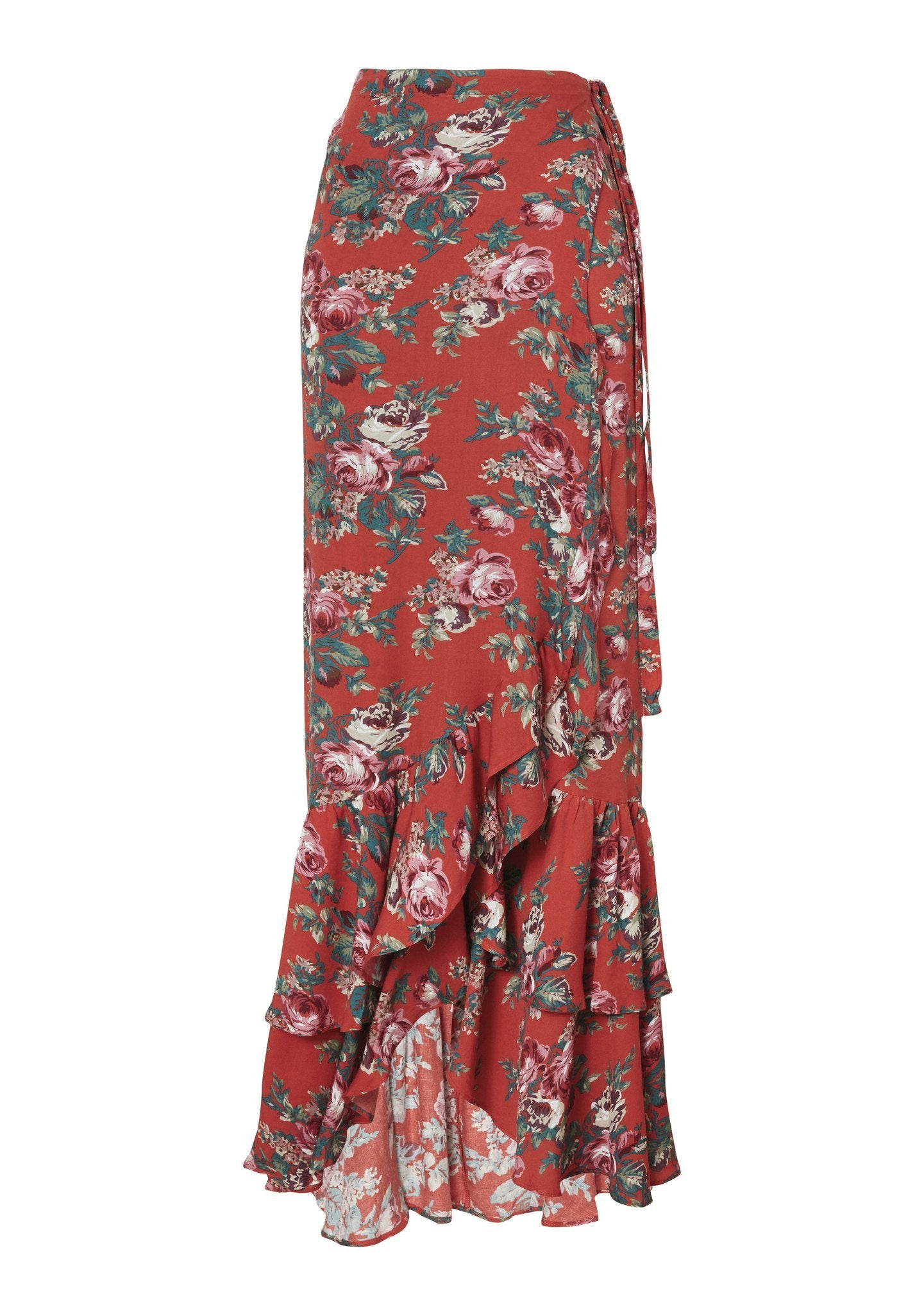 Stevie Frill Wrap Maxi Skirt Vintage Heart Red