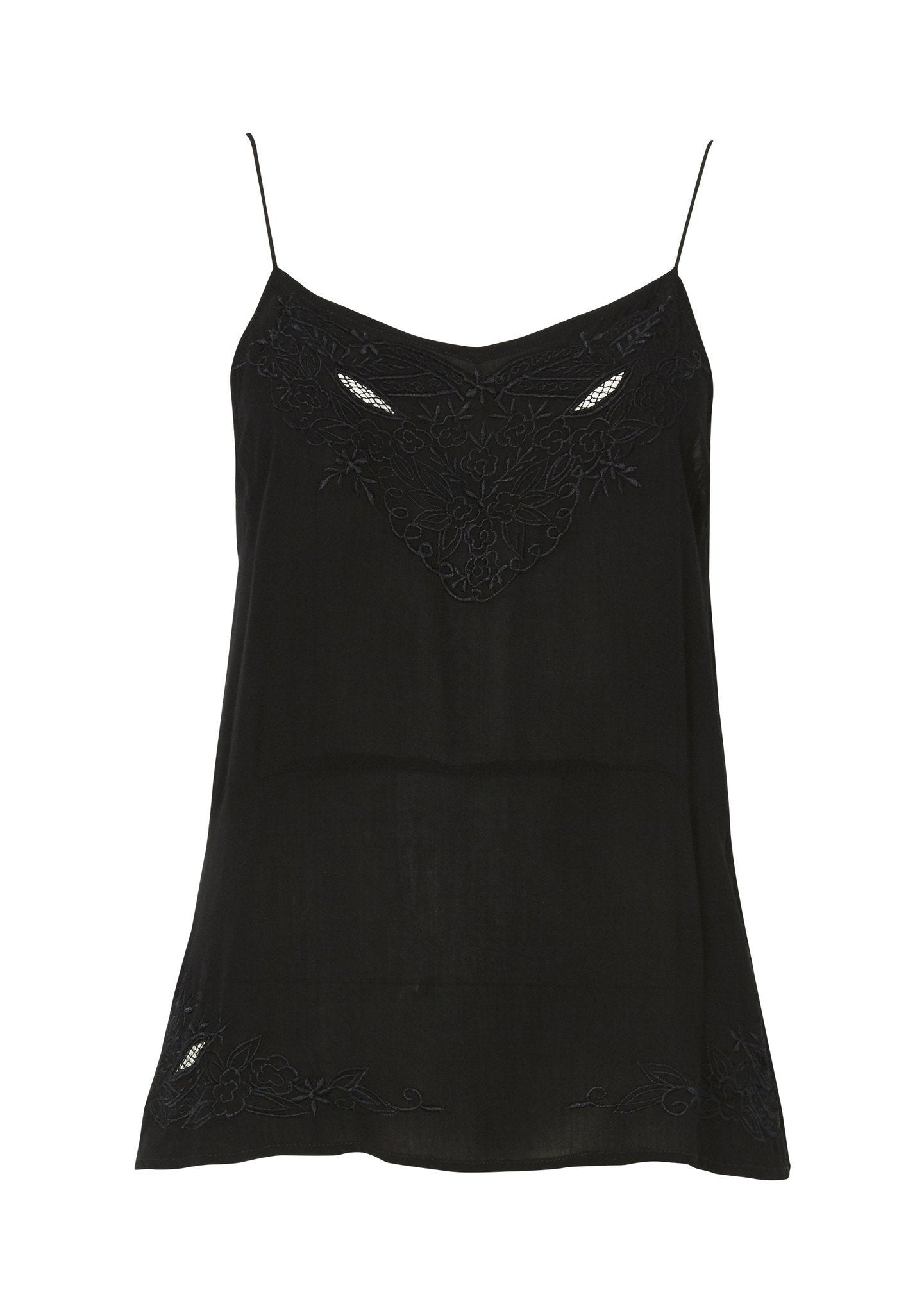 Embroidered Cami Black