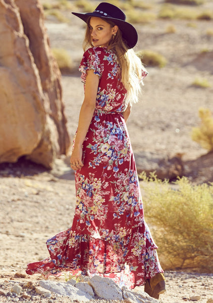 Beach House Frill Wrap Maxi Dress Bambi Bloom Cherry