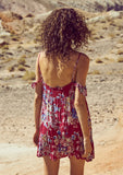 Beach House Strappy Mini Dress Bambi Bloom Cherry