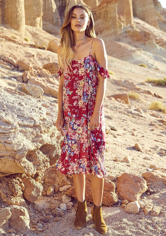 Beach House Strappy Day Dress Bambi Bloom Cherry