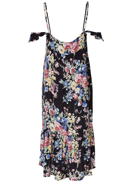 Beach House Strappy Day Dress Bambi Bloom Black