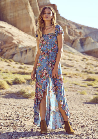 Willow Day Dress Longbeach Floral Blue
