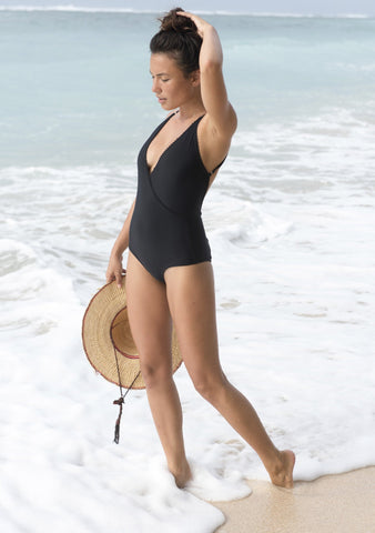 Cross Front One Piece Black