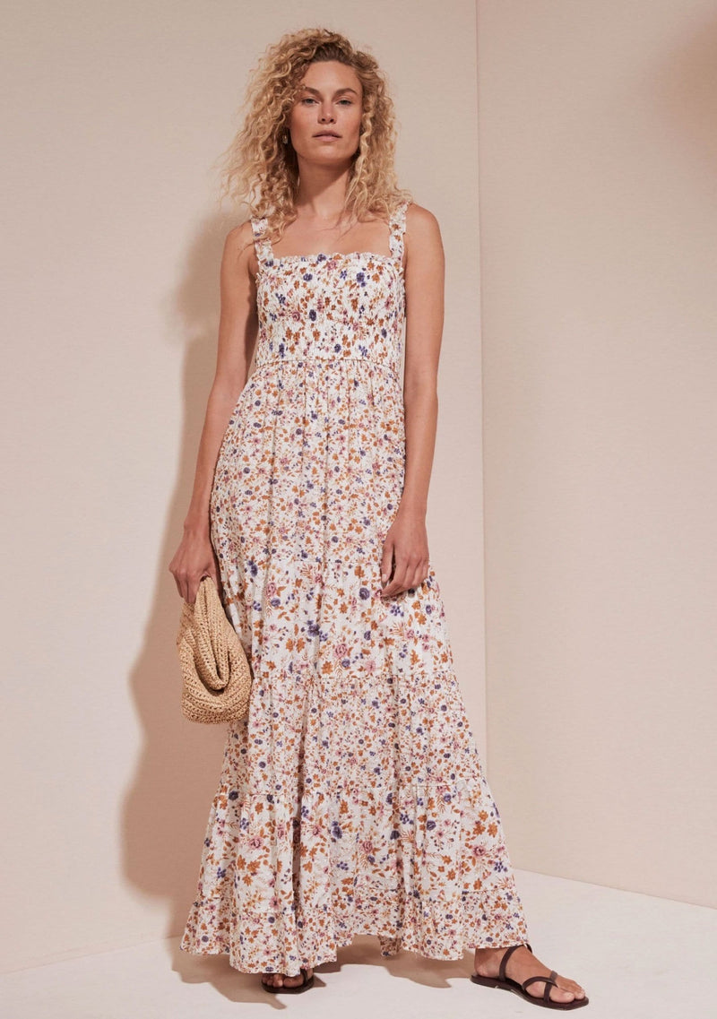 Amaliah York Shirred Maxi dress Off White