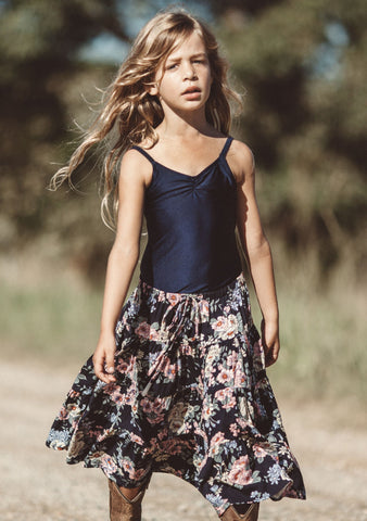 Festival Little Miss Maxi Skirt Boho Blooms Navy Blue