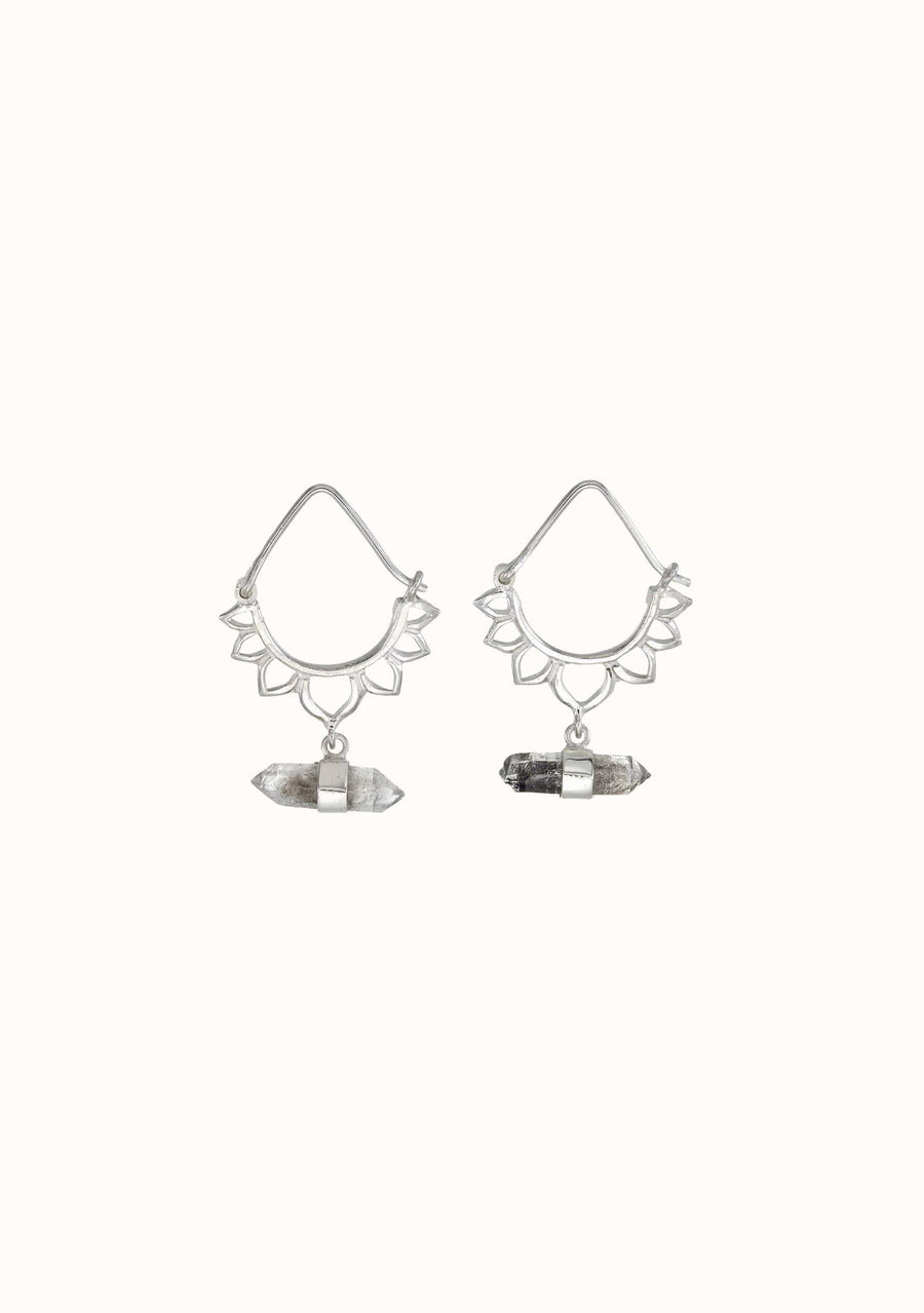 TIGER FRAME Lotus Crystal Earring Silver