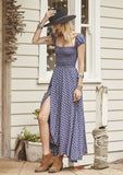 Indian Princess Boheme Goddess Day Dress Navy