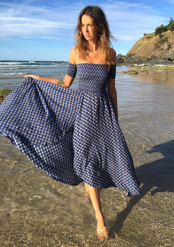 Boheme Goddess Maxi Dress Indian Princess  Navy