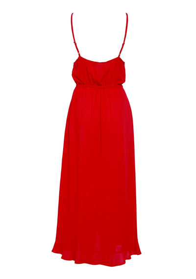 Ella Split Front Day Dress Red - Auguste The Label