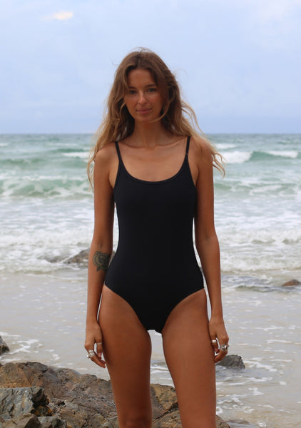 Spaghetti Strap One Piece Black