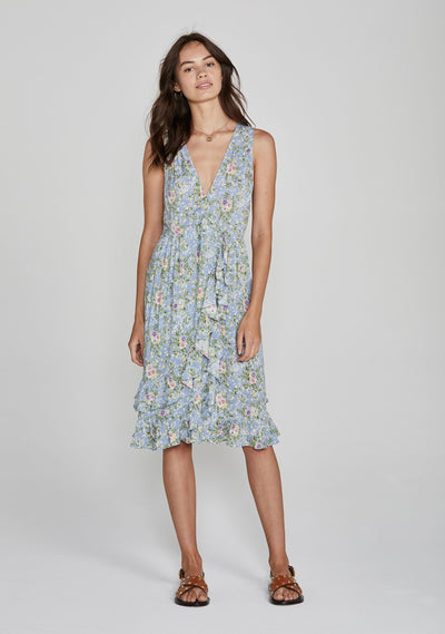 Ophelia Frilled Midi Dress Pale Blue - Auguste The Label