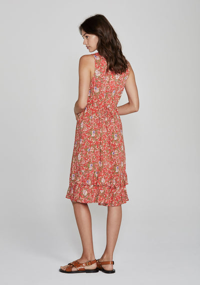 Ophelia Frilled Midi Dress Red - Auguste The Label