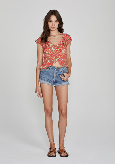 Ophelia Frill Blouse Red - Auguste The Label